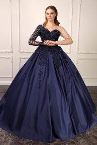 Lacivert Saten İşlemeli Kabarık Nişan Elbisesi