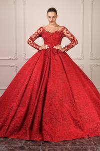 Kırmızı İşleme Detaylı Kabarık Nişan Elbisesi