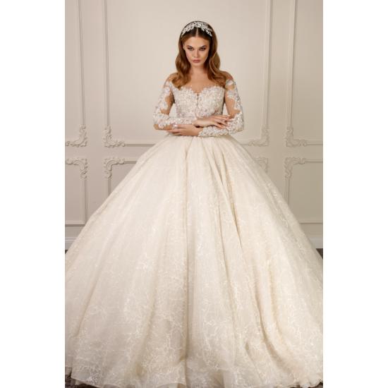 Yoğun Güpür İşlemeli Prenses Model Gelinlik