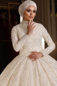 İşlemeli Tesettür Prenses Model Gelinlik