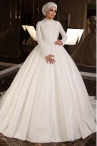 İşlemeli Pırıltılı Tesettür Prenses Model Gelinlik