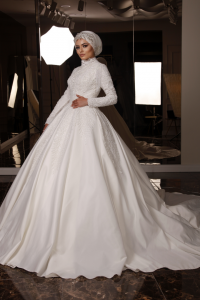 Kristal İşlemeli Pırıltılı Tesettür Prenses Model Gelinlik