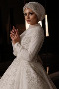 İşlemeli Pileli Tesettür Prenses Model Gelinlik