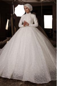 Güpür Detaylı Tesettür Prenses Model Gelinlik
